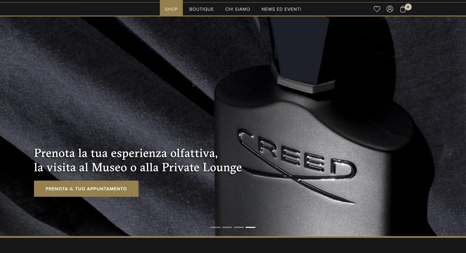 CREED Boutique Italia website